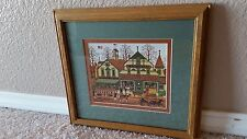 Charles Wysocki Framed Matted Reproduction The Haberdashery Town Village