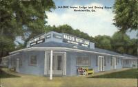 Hawkinsville GA Massee Motor Lodge Linen Postcard