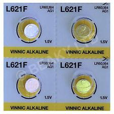 Genuine Vinnic AG1 L621 LR621 164 Mercury Free Alkaline Battery 1.5v [4-Pack]