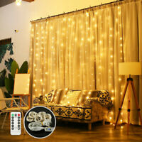300 LED Fairy String Lights Christmas Curtain Window Wedding Decor + Controller