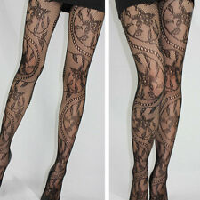 Fashion Womens Ladies Floral Pattern Black Fishnet Tights Pantyhose Stockings
