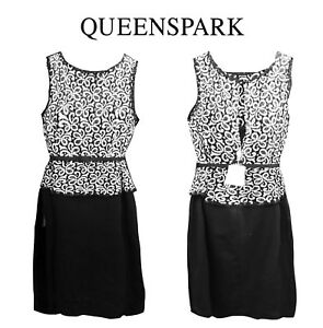 NWT Elegant Queenspark Lace ponte B&W Special Occasion dress RRP $249.95– Sz 20