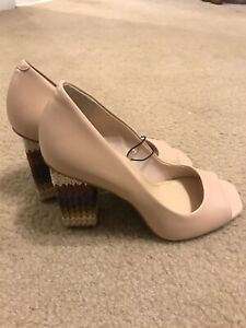 New Katy Perry The Catie  Cube Pump Heel Leather  shoe women Size 6.5