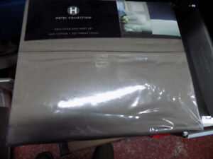 HOTEL COLLECTION TWIN SIZE EXTRA DEEPSHEET SET 525TC TAUPE COLOR