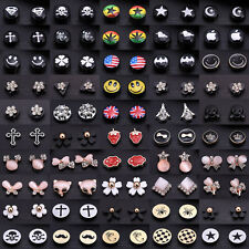 One Pair Magnetic Round Crystal Opal Women Girl Clip On Magnet Ear Stud Earrings