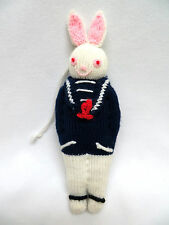 Vintage Christmas Ornament Knitted White Bunny Rabbit in Blue Sailor Suit