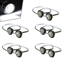 10pcs 3/4 inch White 3 LED Round Side Marker Indicator Light Truck Trailer Lorry