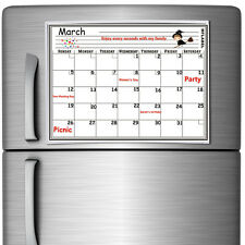16 x 12 Monthly Magnetic Refrigerator Calendar White Dry Erase Board Organizer