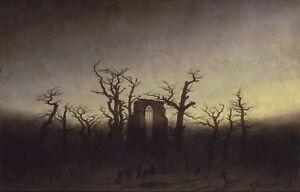 Caspar David Friedrich Abbey among Oak Trees Giclee Canvas Print Paintings Poste