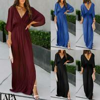Sexy Women's Long Sleeve Maxi Dress Ladies V Neck Elegant Backless Party Dresses