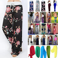 Women Floral Palazzo Harem Long Pants Wide Leg Yoga Hippie Beach Baggy Trousers