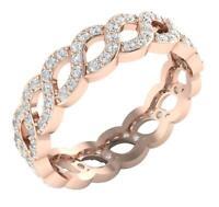 Eternity Anniversary Ring 1.15 Carat Natural Round Diamond I1 G 14K Rose Gold
