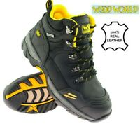 Mens WOOD WORLD Leather Waterproof Safety Steel Toe Cap Hiker Work Boots SZ 7-13