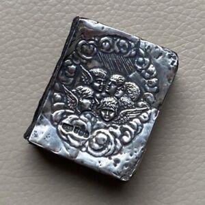 Antique Miniature Prayer Book Silver Mounted Hallmarked Reynolds Angels 1900s