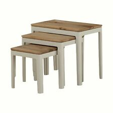 Oak Nest of 3 Tables Dunmore Painted White Wooden Living Room Furniture