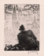 """Roger Hebbelinck ORIGINAL Etching """"Artist Vision of Belgium"""" Signed Framed COA"""