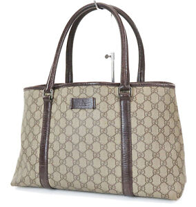 Authentic GUCCI Brown GG PVC Canvas Leather Tote Shoulder Bag Purse #37020