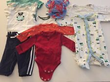 Lot of 10 Infant Boy's Clothing Sleepers One-Piece Pants Hat  Size 0 - 3 Mo