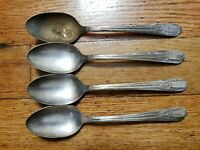 """4 ANTIQUE Vintage COLLECTABLE WM ROGERS MFG CO EXTRA SILVER PLATE TEA SPOONS 6""""-"""