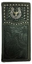 Mens Wallet Texas Long Horn Western Bifold Check Book Style W032-6 Black