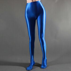 PLUS SIZE Women Shiny Wet Look Tights Satin Glossy Stockings Pantyhose Dancewear