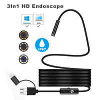 6 LED Waterproof 3in1 Android USB Type-C Endoscope Inspection 5.5mm Camera 1-5m