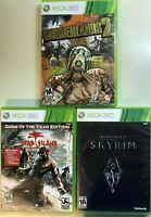 Xbox 360 RPG Action Lot - Skyrim, Borderlands 2 & Dead Island GOTY - 3 Games CIB