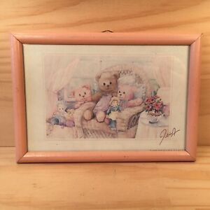 """TEDDY BEAR SUNROOM """"Pink"""" Small Framed Picture Plaque Decorative Wall Art"""