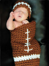 INFANT BOYS PHOTO PROP  CROCHET PATTERN FOOTBALL COCOON BAG AND HAT/BEANIE