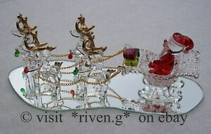 SANTA SLEIGH AND REINDEER@PRESENTS MIRROR AND LIGHT@22Kt GOLD CHRISTMAS GIFT