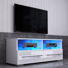 Modern TV Unit 100cm Matt White High Gloss 2 Drawers Cabinet Stand LED Lights UK