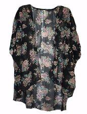 Women's Elegant Top, Chiffon black top with flower pattern, Kimono, Cape,Size: L