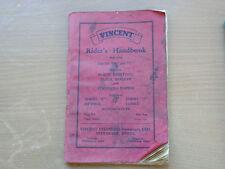 Vincent Black Shadow, Negro relámpago, Rapide, Comet, MTR, jinetes Manual 1955.
