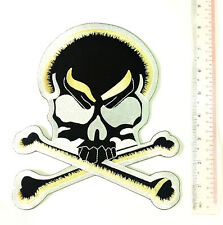 Black and White Skull Crossbones Biker Back Patch 8 Inch XXL Embroidered Iron On