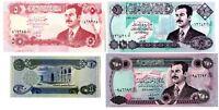 4 Billetes Iraq Sadam Husein Nuevos sin circular