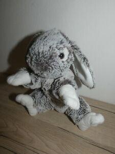 peluche doudou lapin marron chiné blanc 23 cm soft friends