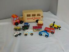 Lot of Melissa and Doug Wooden Toys Trucks and Cars and More