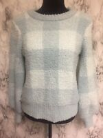 Lauren Conrad Size S Blue Plaid Extra Soft Balloon Sleeve Pullover Sweater
