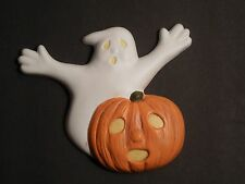 Ceramic Ghost And Pumpkin Halloween Decoration ~ Yellow Eyes & Mouth ~ Lays Flat