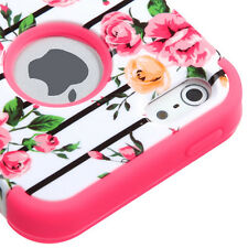 iPhone SE / 5S - Pink Rose Flower Hybrid Armor Skin Hard&Soft Rubber Case Cover