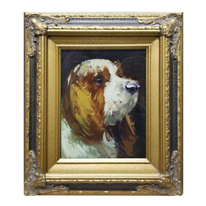 Hungryartist - Framed oil painting of cute puppy dog must see 16x14