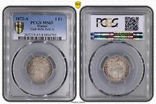 M5507 Rare 1 Franc Cérès 1872 A Paris PCGS MS65 Argent Silver FDC  !!! ->