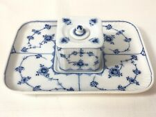 Rare Royal Copenhagen Blue Fluted Lace Cube Inkwell And Tray Denmark  1/128