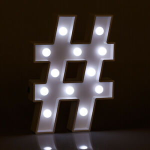 Light Up Hashtag Sign Illuminated Decorative White Wooden Marquee Letter Lights