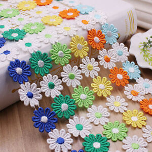 3 Yards Embroidery Floral Lace Trim Daisy Ribbon Patchwork Wedding Dress Sewing