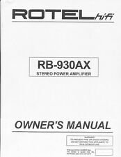 Rotel RB-930AX Amplifier Owners Manual