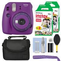 Fujifilm Instax Mini 9 Instant Film Camera Clear Purple + 40 Film Accessory Kit