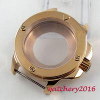 47mm Parnis Rose Gold passen plattiert Saphir Glasfall 2836 8215 Bewegung