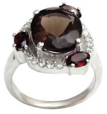 925 Pure Silver Smoky Topaz And Garnet Stone Indian Women Fashion Ring Jewelry