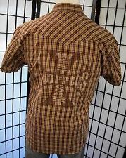West Coast Choppers Jesse James plaid pearl snap back panel biker shirt medium m